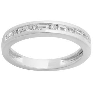 14k White Gold 1/2ct TDW Alternating Round and Baguette Diamond Channel-set Anniversary Ring (H-I, I1-I2)