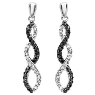 Sterling Silver 1/10ct Round Cut Black & White Diamond Infinity Swirl Dangling Earrings