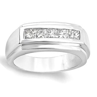 14k White Gold Men's 1ct TDW Diamond Channel Ring (H-I, I1-I2)