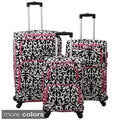 World Traveler Damask 3-piece Expandable Lightweight Spinner Upright Luggage Set