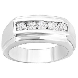 14k White Gold Men's 1ct TDW Round Diamond Channel Ring (H-I, I1-I2)