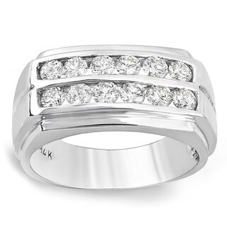 1.35 Carat (ctw) 14k White Gold Round Diamond Mens Wedding Anniversary 2 row Band Ring