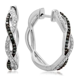 14k White Gold 1/4ct TDW Diamond Twisted Swirl Hoop Earrings (H-I, I1-I2)
