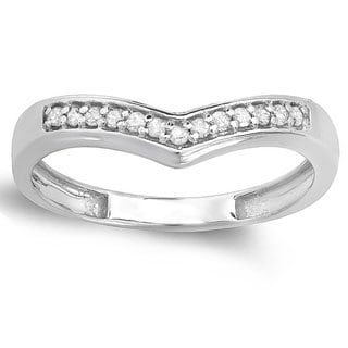 10k White Gold 1/6ct TDW White Round Diamond Wedding Stackable Anniversary (I-J, I2-I3)
