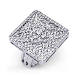 14k White Gold 3ct TDW Diamond Pave Square Cocktail Ring (H-I, I1-I2)