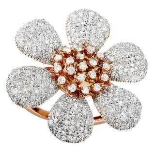 14k Rose Gold 2ct TDW Diamond Flower Cocktail Ring (H-I, I1-I2)