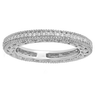 14k White Gold 1/2ct TDW Round-cut Diamond Millgrain Anniversary Wedding Stackable Band (H-I, I1-I2)