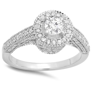 14k White Gold 1ct TDW Round Diamond Bridal Vintage Halo Style Engagement Ring (H-I, I1-I2)