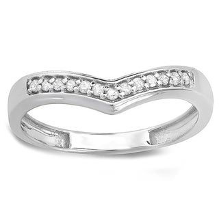 Sterling Silver 1/6ct TDW Round-cut Diamond Wedding Stackable Band Anniversary Chevron Ring