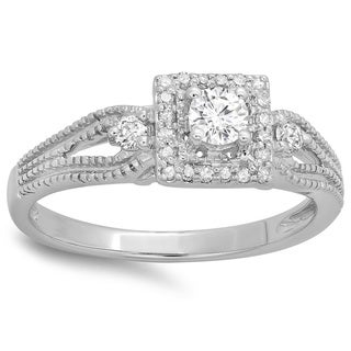14k White Gold 2/5ct TDW Diamond Bridal Vintage Halo Style Engagement Ring (H-I, I1-I2)
