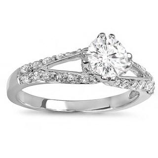 14k White Gold 1 1/4ct TDW Round Diamond Accents Bridal Engagement Ring (H-I, I1-I2)