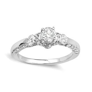 14k White Gold 1ct TDW Round Diamond 3-stone Bridal Engagement Ring (H-I, I1-I2)