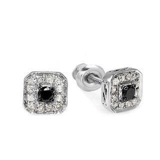 Sterling Silver 1/2ct TDW Black and White Diamond Earrings (H-I, I1-I2)