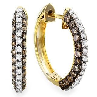 14k Yellow Gold 1 1/10ct TDW Champagne Diamond Hoop Earrings (H-I, I1-I2)