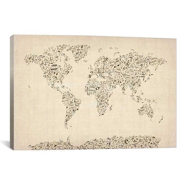 iCanvas Michael Thompsett Music Notes Map of The World Canvas Print Wall Art