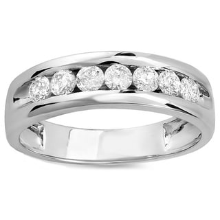 14k White Gold 4/5ct Round Diamond Men's Wedding Band