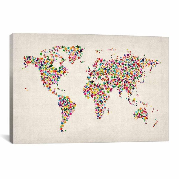 iCanvas Michael Thompsett Stars World Map Canvas Print Wall Art