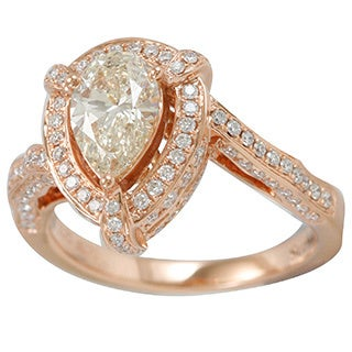 Suzy Levian 18k Rose Gold 1 7/8ct TDW Natural Yellow Diamond Ring (G-H, VS1-VS2)