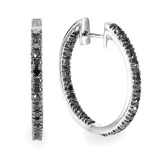 Sterling Silver 1 1/4ct TDW Black Diamond Hoop Earrings