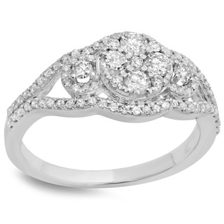 14k White Gold 4/5ct TDW Round-cut Diamond Bridal Split Shank Cluster Engagement Ring (H-I, I1-I2)