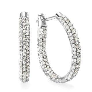 Sterling Silver 4/5ct TDW Hoop Pave Set Diamond Earrings (H-I, I1-I2)