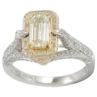 Suzy Levian 18k Two-tone Gold 1 7/8ct TDW Yellow Diamond Ring (G-H, SI1-SI2)