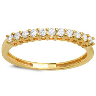 14k Yellow Gold 1/3ct TDW Round Diamond Anniversary Stackable Wedding Ring (H-I, I1-I2)