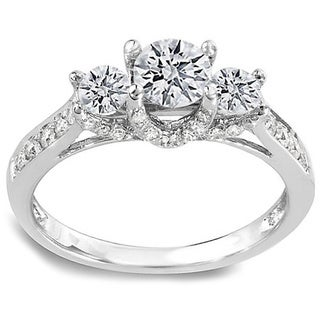 14k White Gold 1ct TDW Round Diamond 3-stone Engagement Ring (H-I, I1-I2)