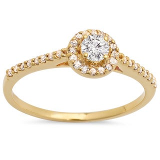 14k Yellow Gold 1/2ct TDW Diamond Halo Ring (H-I, I1-I2)