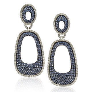 Suzy Levian Sterling Silver Blue and White Sapphire Pave Earrings