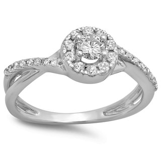 10k White Gold 1/2ct TDW Round-cut Diamond Engagement Ring (H-I, I1-I2)