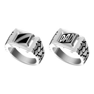 Bridal Symphony Sterling Silver Men's Reversible 'Dad' Diamond Accent Ring