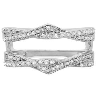 14k White Gold 1/2ct TDW Round-cut Diamond Anniversary Wedding Ring (H-I, I1-I2) Swirl Enhancer Gua