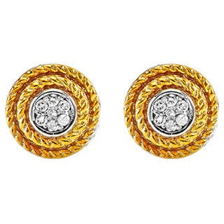 14k Two-tone Goldplated Sterling Silver 1/10ct TDW Round Diamond Earrings (H-I, I1-I2)