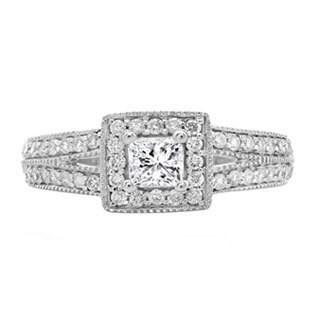 14k White Gold 4/5ct TDW Princess and Round-cut Diamondsplit Shank Bridal Halo Engagement (H-I, I1-I2)