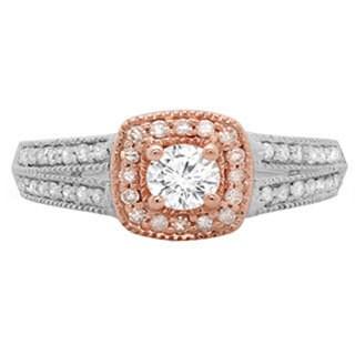 14k Two-tone Gold 3/4ct TDW Round-cut Diamondsplit Shank Bridal Halo Engagement Ring (H-I, I1-I2)