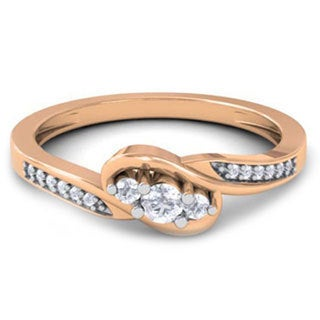 10k Rose Gold 1/4ct TDW Diamond 3-stone Promise Ring (H-I, I1-I2)
