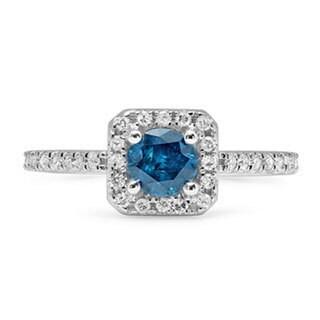 14k White Gold 7/8ct TDW Round Blue and White Diamond Bridal Halo Style Engagement Ring (H-I, I1-I2)