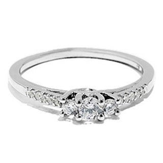 14k White Gold 2/5ct TDW 3-stone Diamond Engagement Bridal Ring (H-I, I1-I2) 3/8 ct TDW