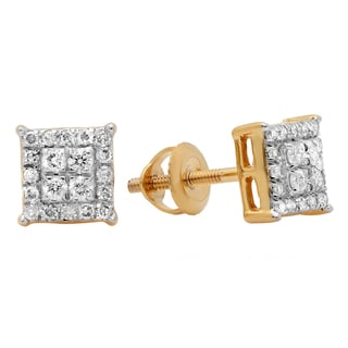 10k Yellow Gold 1/3ct TDW Diamond Square-cut Stud Earrings (H-I, I1-I2)