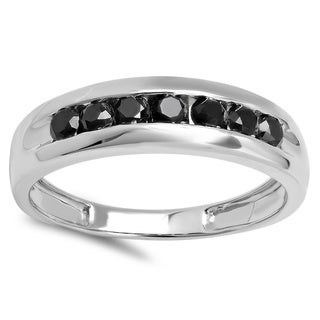 Sterling Silver 1ct TDW Round-cut Black Diamond Men's Channel-set 7 Stone Anniversary