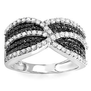 10k White Gold 1 1/6ct TDW Black and White Diamond Cocktail Right Hand Ring (H-I, I1-I2)