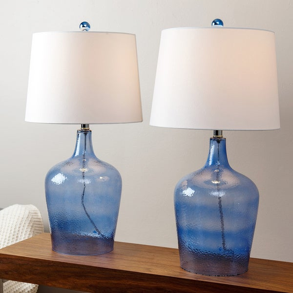abbyson living azure blue glass table lamp set of 2 16810830. Black Bedroom Furniture Sets. Home Design Ideas