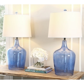 Abbyson Living Azure Blue Glass Table Lamp (Set of 2)