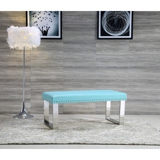 Royal Comfort Eden Modern Sky Blue Faux Leather Bench