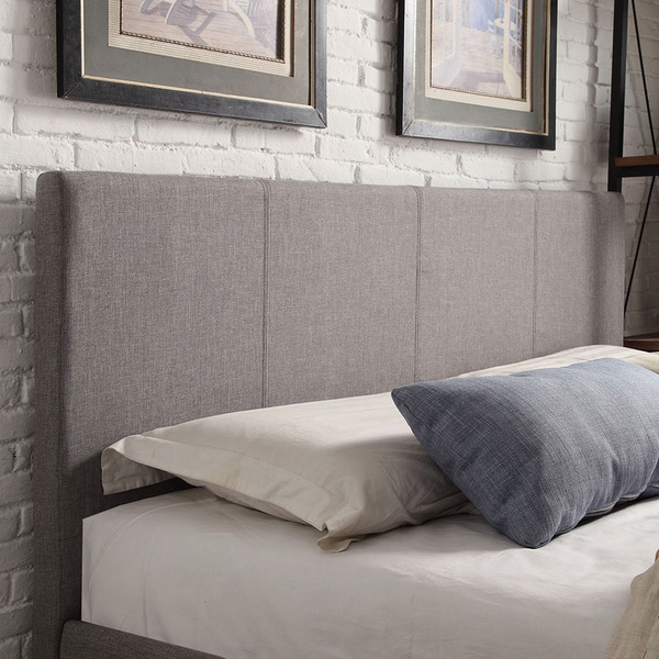 king size grey linen headboard overstock shopping big discounts on headboards. Black Bedroom Furniture Sets. Home Design Ideas