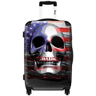 Murano by iKase Flag Skull 24-inch Hardside Spinner Upright Suitcase