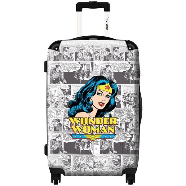Murano by iKase Wonder Woman Top News 24-inch Hardside Spinner Upright Suitcase