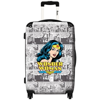 iKase Wonder Woman Top News 24-inch Hardside Spinner Upright Suitcase