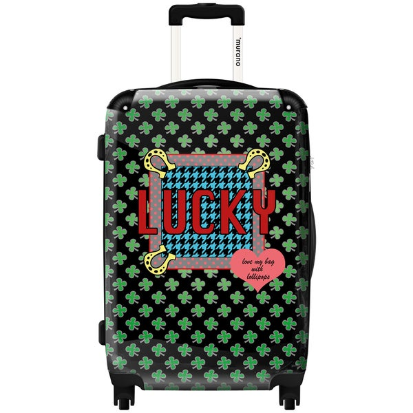 Murano by iKase Lucky Clover Art 24-inch Hardside Spinner Upright Suitcase